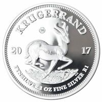 SOUTH AFRICAN SILVER KRUGERRAND 2017 1 OZ PURE SILVER PROOF COIN   COA AND BOX
