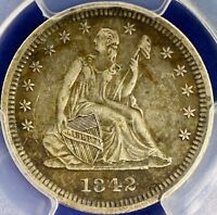 1842 O SEATED LIBERTY QUARTER PCGS XF DETAILS LARGE DATE CERTIFIED COIN