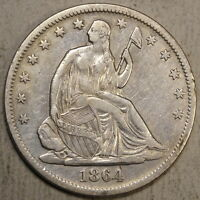 1864 S SEATED LIBERTY HALF DOLLAR SMALL S  DISCOUNTED CIVIL WAR DATE
