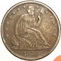 1858 S SEATED LIBERTY HALF DOLLAR LY FINE  COIN  0328 97