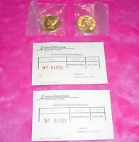 24KT GOLD PLATED KENNEDY HALF DOLLAR LOT OF TWO 1972 1980