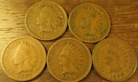 1895 1896 1897 1898 1899  INDIAN HEAD PENNY'S 5 COINS  5 COIN SET       416174