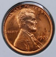 1935 P LINCOLN CENT CHOICE RED BRILLIANT UNCIRCULATED