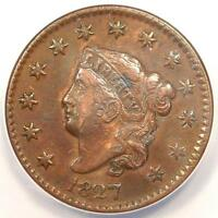 1827 CORONET MATRON LARGE CENT 1C - ANACS EXTRA FINE 40 DETAILS EF40 -  COIN