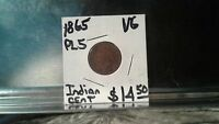 CIVIL WAR ERA 1865 PL 5 INDIAN CENT.  VG CONDITION