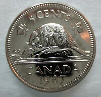 1987 CANADA 5 CENTS PROOF LIKE COIN