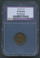 1912-D LINCOLN WHEAT CENT 1C NCS EXTRA FINE  DETAILS OBV DAMAGE
