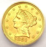 1851 LIBERTY GOLD QUARTER EAGLE $2.50 COIN   CERTIFIED ICG MS65   $6,720 VALUE