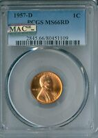 1957 D 1C PCGS MS66 RD MAC  LINCOLN CENT  109