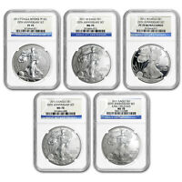 2011 5 COIN SILVER EAGLE SET MS/PF 70 NGC  25TH ANNIV    SKU88420
