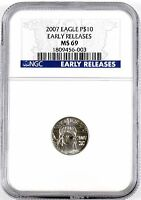 EARLY RELEASES 2007 $10 AMERICAN EAGLE 1/10 OZ PLATINUM COIN NGC GRADED MS69
