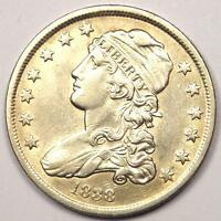 1838 CAPPED BUST QUARTER 25C   AU DETAILS    EARLY DATE TYPE COIN