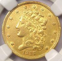 1837 CLASSIC GOLD HALF EAGLE $5   NGC AU DETAILS    CERTIFIED GOLD COIN