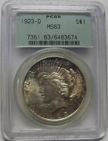 BEAUTIFUL LIGHTLY TONED 1923 D SILVER PEACE DOLLAR GRADED MS63 BY PCGS    3674
