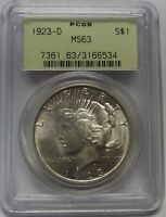 BEAUTIFUL LIGHTLY TONED 1923 D SILVER PEACE DOLLAR GRADED MS63 BY PCGS    6534