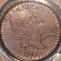 AND ATTRACTIVE 1797 HALF CENT, 1 ABOVE 1 VAR., PCGS F12, 3-DAY RETURN