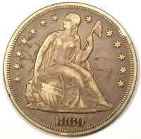 1869 SEATED LIBERTY SILVER DOLLAR $1   VF DETAILS    EARLY TYPE COIN