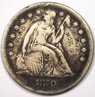 1870 CC SEATED LIBERTY SILVER DOLLAR $1   VF DETAILS    CARSON CITY COIN