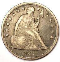 1842 SEATED LIBERTY SILVER DOLLAR $1   VF DETAILS    EARLY TYPE COIN