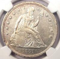1841 SEATED LIBERTY SILVER DOLLAR $1   NGC AU DETAILS    EARLY DATE COIN