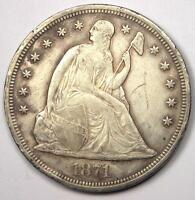 1871 SEATED LIBERTY SILVER DOLLAR $1   XF DETAILS    EARLY TYPE COIN