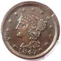 1847 BRAIDED HAIR LARGE CENT 1C   PCGS UNCIRCULATED DETAIL    MS UNC PENNY