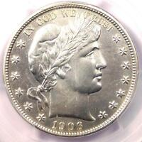 1906 BARBER HALF DOLLAR 50C   PCGS AU DETAILS    DATE   CERTIFIED COIN