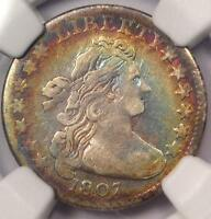 1807 DRAPED BUST DIME 10C COIN - CERTIFIED NGC FINE DETAILS - RAINBOW TONE