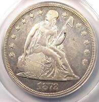 1872 SEATED LIBERTY SILVER DOLLAR $1 COIN - CERTIFIED ANACS EXTRA FINE 45 DETAILS EF45