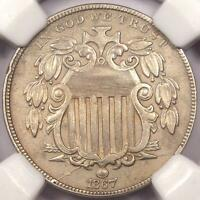1867 RAYS SHIELD NICKEL 5C - NGC AU DETAILS -  RAYS VARIETY COIN