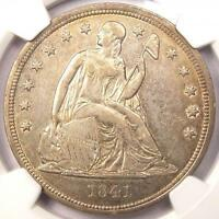 1841 SEATED LIBERTY SILVER DOLLAR $1 - NGC AU DETAILS -  EARLY DATE COIN