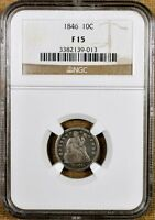 1846 NGC F15 SEATED DIME - KEY DATE