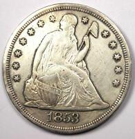 1853 SEATED LIBERTY SILVER DOLLAR $1 - EXTRA FINE /AU DETAILS -  EARLY TYPE COIN