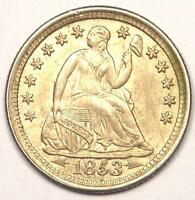 1853 ARROWS SEATED LIBERTY HALF DIME H10C - EXCELLENT CONDITION -
