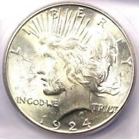 1924-S PEACE SILVER DOLLAR $1 - ICG MINT STATE 62 -  CERTIFIED BU COIN - $300 VALUE