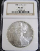 1995 AMERICAN SILVER EAGLE 1OZ. .999 FINE SILVER NGC MINT STATE 69