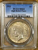 1921 PCGS MINT STATE 62 PEACE DOLLAR - KEY DATE