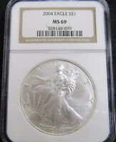2004 AMERICAN SILVER EAGLE 1OZ. .999 FINE SILVER NGC MINT STATE 69