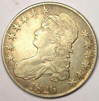 1826 CAPPED BUST HALF DOLLAR 50C - SHARP DETAILS -  COIN -  DATE