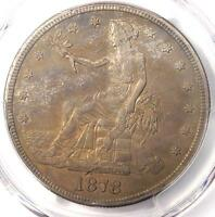 1878-S TRADE SILVER DOLLAR T$1 - CERTIFIED PCGS AU DETAIL -  CERTIFIED COIN