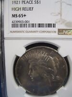 1921 PEACE $1 HIGH RELIEF NGC MINT STATE 65     HIGH DEMAND THIS NICE