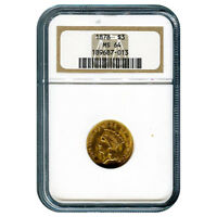 CERTIFIED US GOLD $3 1878 MS64 NGC