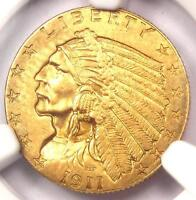 1911 D INDIAN GOLD QUARTER EAGLE $2.50 STRONG. NGC UNCIRCULATED DETAIL  UNC MS