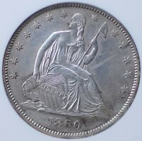 1860 O SEATED HALF DOLLAR ANACS AU 50 DETAILS CLEANED NICE DETAIL FOR THE GRADE