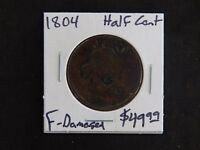 1804 FINE DRAPED BUST HALF CENT CIRCULATED - DAMAGED