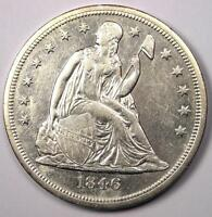 1846-O SEATED LIBERTY SILVER DOLLAR $1 - AU DETAILS -  EARLY DATE COIN