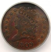 1809 CLASSIC HEAD HALF CENT - ICG AU55 -  EARLY DATE COIN