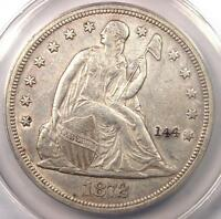 1872 SEATED LIBERTY SILVER DOLLAR $1 - ANACS AU50 DETAILS -  EARLY DATE COIN