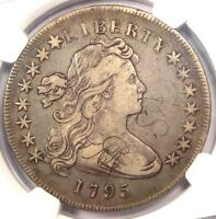 1795 DRAPED BUST SILVER DOLLAR $1 COIN, SMALL EAGLE, BB-51 B-14 NGC VF DETAILS