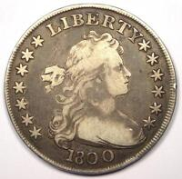 1800 DRAPED BUST SILVER DOLLAR $1 -  FINE DETAILS VF -  TYPE COIN